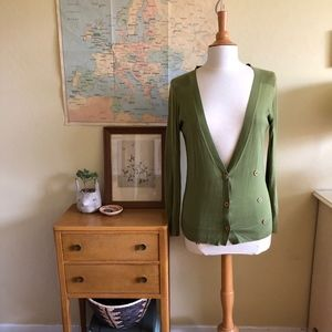 Anthropologie Lime Long Cardi by HWR